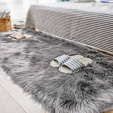 grey fur rug com