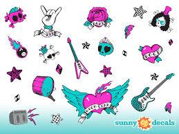 Rock Star Wall Decals Standard Girls Guitars Stars Skulls
