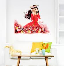 Kids Room Baby Cartoon Girl In Flower Garden Listening To Nature S Music Wall Stickers Wall Decals Decalsdesignindia