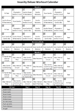 insanity schedule printable that are