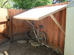 Fence Supported Bike Shelter Built A Client A Bike Shelter Flickr Outdoor Bike Storage Bike Shelter Bike Storage Diy