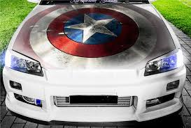 Vinyl Car Hood Wrap Full Color Graphics Decal Captain America Shield Sticker Ebay