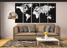 Amazon Com Black And White World Map Grey Vintage World Map Wall Art Canvas Print Extra Large Canvas Art For Living Room Old World Map Wall Decal Wall Decoration For Bedroom Hr122 Handmade