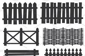 Country Wooden Fences Sponsored Vector Black Silhouette Palisade Ad 1000 In 2020 Wooden Fence Wood Gate Wooden