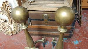 large vintage brass fireplace andirons