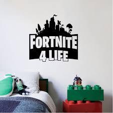 Fortnite For Life Logo Design Decor Wall Art Vinyl Decals Girls Boys Kids Room Bedroom Nursery Kindergarten Fun Home Children Room Decor Wall Art Vinyl Stickers Adhesive Murals Size 30x30 Inch
