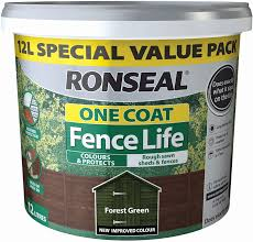 Ronseal One Coat Fence Life 9l Plus 33 Free Forest Green Amazon Co Uk Garden Outdoors