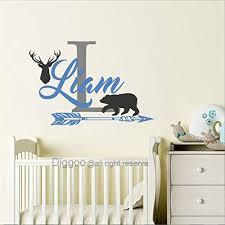 Personalized Name Wall Decal Deer Antlers Decal Bear Decal Arrow Vinyl Decal Rustic Nursery D In 2020 Rustic Nursery Decor Bear Decal Name Wall Decals