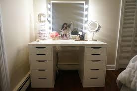 black makeup vanity with drawers