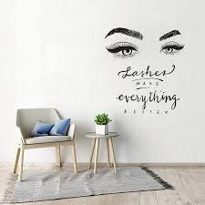 Beauty Salon Decor Eyelashes Eyebrow Wall Art Sticker Lashes Make Everything Better Quote Vinyl Wall Decal Window Poster Wl1560 Wall Stickers Aliexpress