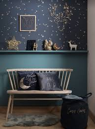 For A Trip To Wonderland Nothing Better Than A Starry Room With A Bi Colored Wall Painted Wood Base In Blue Duck And Dark Kid Room Decor Home Decor Room Decor