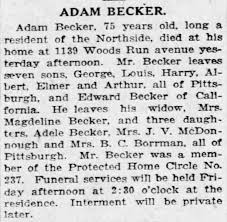 Adam Becker, obituary, 18 Aug 1926, Pittsburgh Daily Post - Newspapers.com