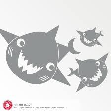 Happy Shark Wall Decal Family Ocean Baby Shark Underwater Nursery Graphic Spaces