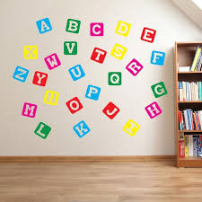 Block Alphabet Wall Stickers Kids Nursery Play Room Home Art Etsy
