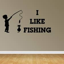 Wall Decal Quote Boy Fisherman Words I Like Fishing Nursery Room Decor R59 Walmart Com Walmart Com