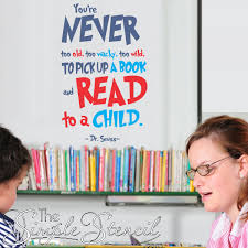Read To A Child Quote Dr Seuss Library Wall Decals Library Wall Kids Wall Decals Quotes For Kids