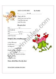 and i love her esl worksheet by