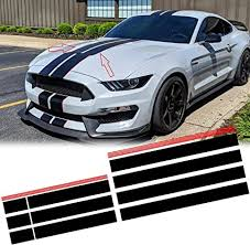 Amazon Com Xotic Tech Jdm Vinyl Stripe Sticker Sporty Racing Graphics Decal Trim For Ford Mustang 2015 2020 Hood Roof Rear Trunk Decoration Glossy Black With Red Side Arts Crafts Sewing