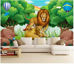 Custom Photo Wallpaper For Walls 3 D Murals Wallpapers Forest Animal Mobilization Woods Lion Childrens Room Kids Room Mural Wallpaper On Hd Wallpaper Online From Yueji 27 22 Dhgate Com