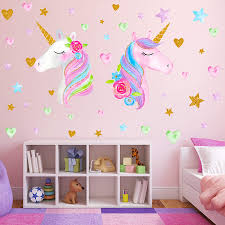 Amazon Com 2 Sheets Large Size Unicorn Wall Decor Removable Unicorn Wall Decals Stickers Decor For Gilrs Kids Bedroom Nursery Birthday Party Favor Neasyth Store 9 99 2 Pcs Baby