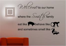 Personalised Family Welcome Wall Art Sticker Lounge Kitchen Quote Decal Ebay
