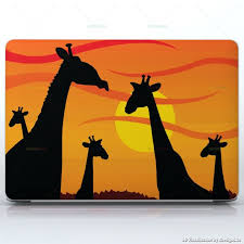 African Sunset Giraffe Safari Laptops Apple Macbook Pro 15 Decal Skin Wrap Sticker Animals