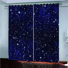 Blue Starry Outer Space Decorative Curtain Xszhqxxla Kids Bedroom 3d Curtains Nursery Office Living Room Wall