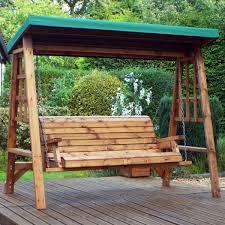 redlands 3 seater garden swing seat green