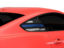 Sec10 Mustang Distressed Flag Quarter Window Decals Blue Line 404820 15 20 All