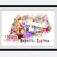 hogwarts express watercolor art print from colorfulprint on