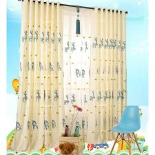 Yellow Linen Animal Embroidery Long Kids Curtains