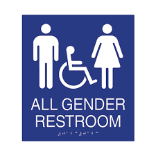 ada compliant all gender restroom wall