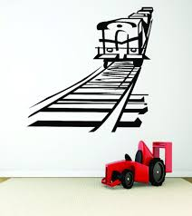 Train On Railroad Tracks Peel Stick Sticker Decal 20x40 Contemporary Wall Decals By Design With Vinyl