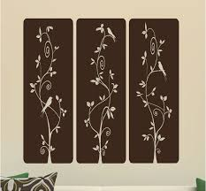 Selena Three Panel With Birds And Trees Vinyl Wall Decal