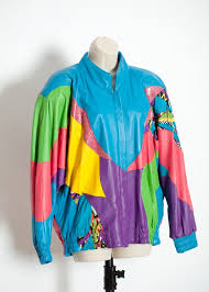 colorful 80s 90s women s leather jacket