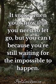 it sucks when you know that you need to let go but you can t