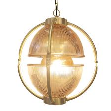 polished brass glass orb pendant light