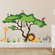 Amazon Com Timber Artbox Cute Animals In The Jungle Wall Decals Giant Bright Stickers To Put A Smile On Kids Toddlers Arts Crafts Sewing