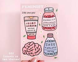 Feminist Vinyl Sticker Set Little Woman Goods