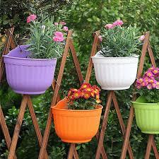 Plastic Flower Pot Hanging Planter Plant Pots Garden Balcony Fence Home Decor 4 50 Picclick Uk