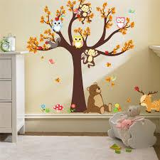 Cartoon Woodland Animals Tree Life Nursery Wall Art Decal Diy Nordic Style Kids Room Decor In 2020 Nursery Room Wall Decals Kids Room Wall Art Wall Stickers Bedroom