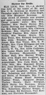 Shower for Bride. Margaret Bowman & John Engle The Republic Meyersdale, PA  Nov. 22, 1923 pg. 2 - Newspapers.com