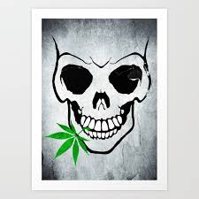 cool skull with pot in mouth art print