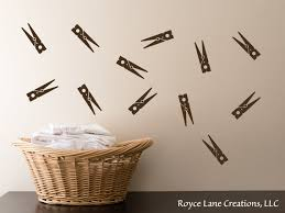Clothespins Wall Decals Set Of 12 Clothes Pins Laundry Etsy