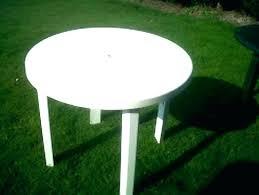 white garden table plastic