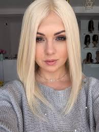 Luiza 40 Cm Peruka Full Lace Wlosy Naturalne Platynowy Blond Hair Lux