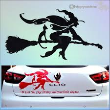 Witch On A Broomstick Sticker Long Lasting Colourfast Vehicle Vinyl