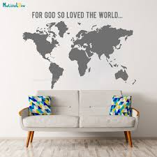 World Map Vinyl Wall Art Sticker Decals For God So Loved The World Home Decoration Removable Art Murals Simple Poster Yt2344 Wall Stickers Aliexpress