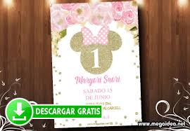 Invitaciones De Minnie Gold Para Editar Gratis Mega Idea