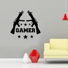 New Style Gamer Wall Stickers Games Room Video Game Gun Play Vinyl Decal Best Decoration Diy Decorative Stickers For Walls Decorative Vinyl Wall Decals From Langru1002 8 55 Dhgate Com